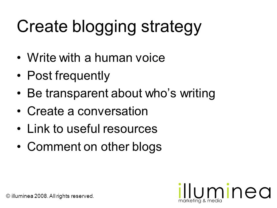 Create blogging strategy