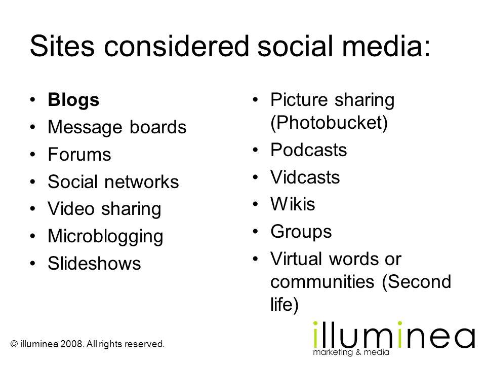 Sites considered social media: