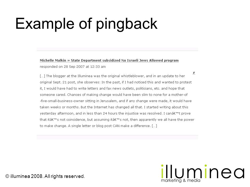 Example of pingback