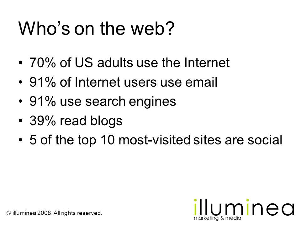 Who's on the web 70% of US adults use the Internet
