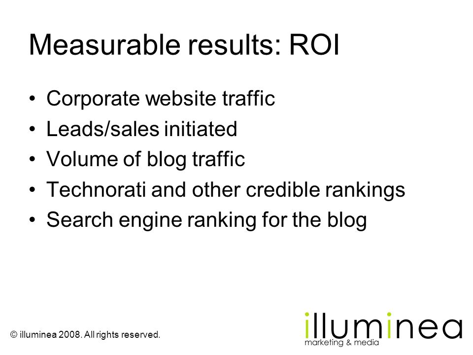 Measurable results: ROI