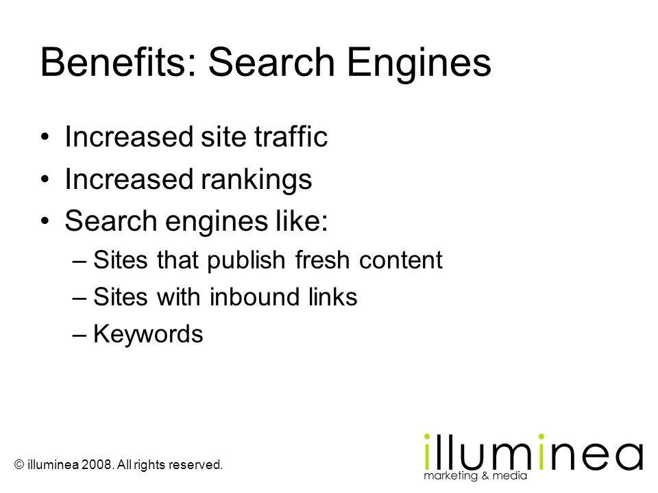 Benefits: Search Engines