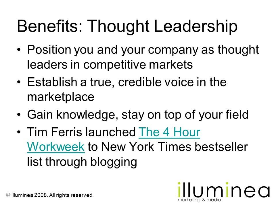 Benefits: Thought Leadership