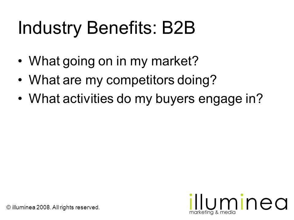 Industry Benefits: B2B What going on in my market