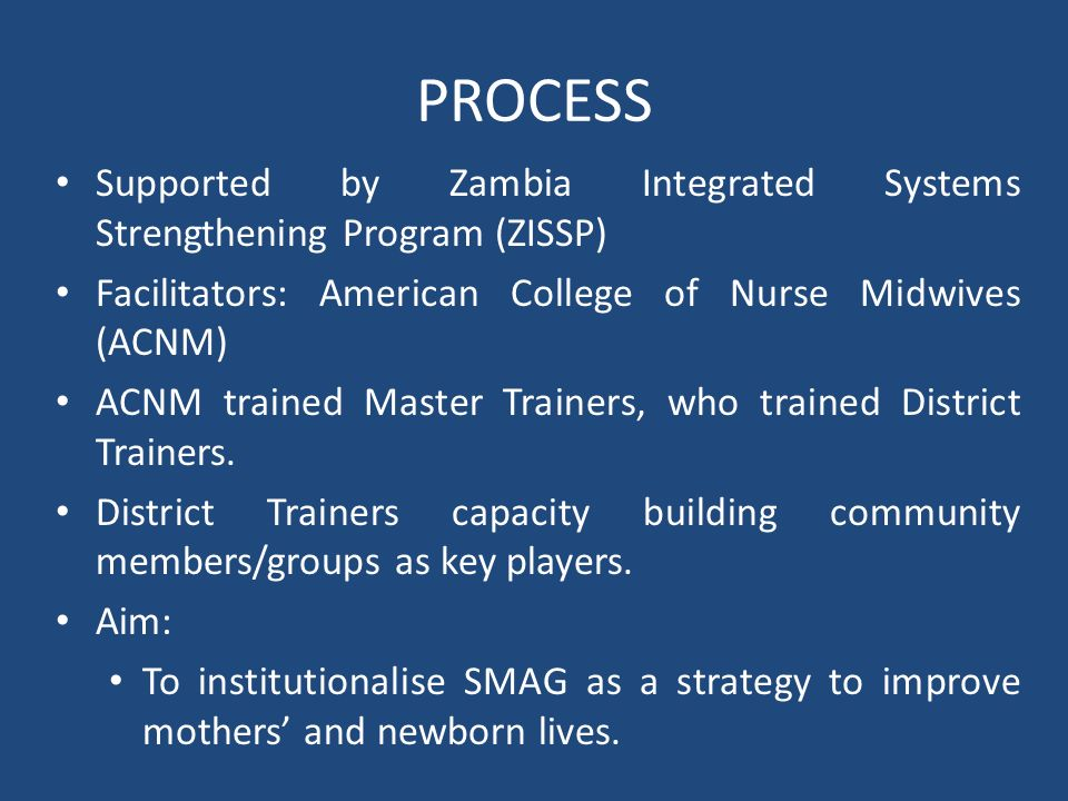PROCESS Supported by Zambia Integrated Systems Strengthening Program (ZISSP) Facilitators: American College of Nurse Midwives (ACNM)