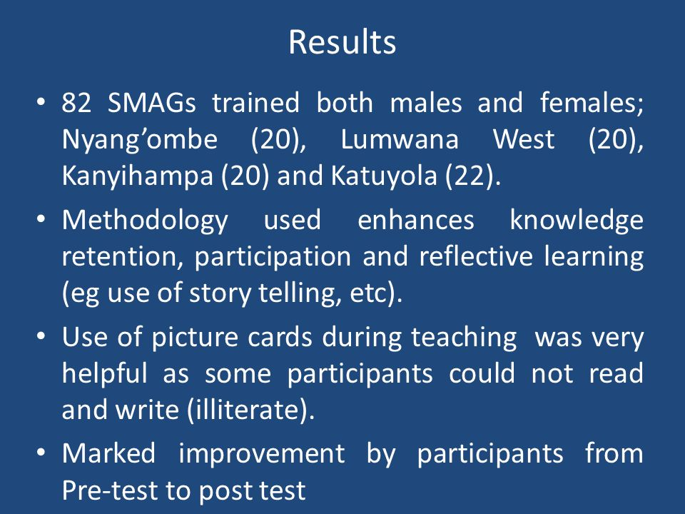 Results 82 SMAGs trained both males and females; Nyang'ombe (20), Lumwana West (20), Kanyihampa (20) and Katuyola (22).