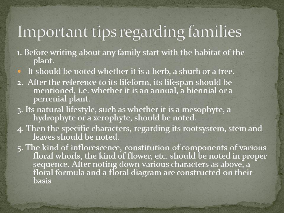 Important tips regarding families