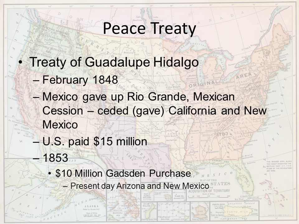 Peace Treaty Treaty of Guadalupe Hidalgo February 1848