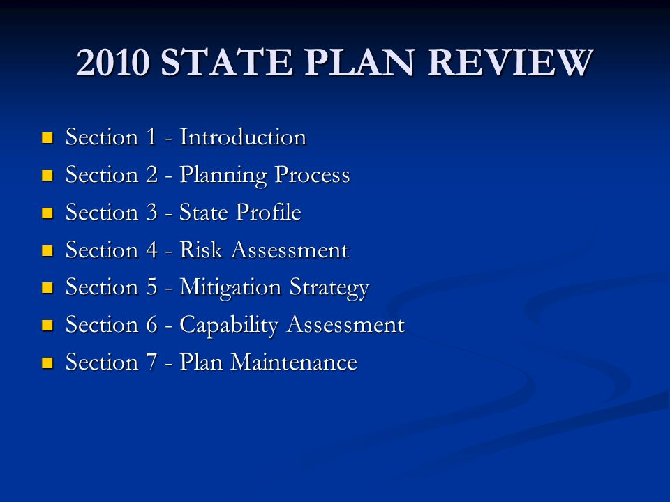 2010 STATE PLAN REVIEW Section 1 - Introduction