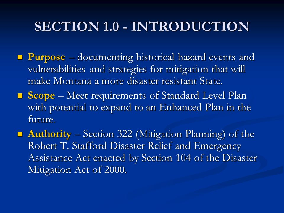 SECTION 1.0 - INTRODUCTION