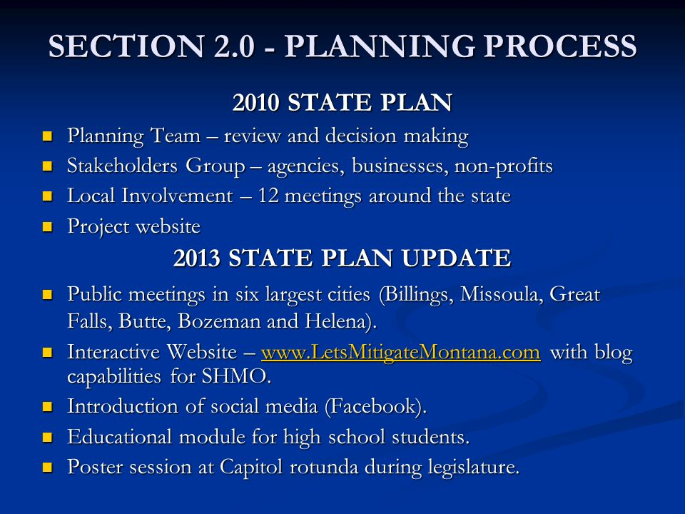 SECTION 2.0 - PLANNING PROCESS