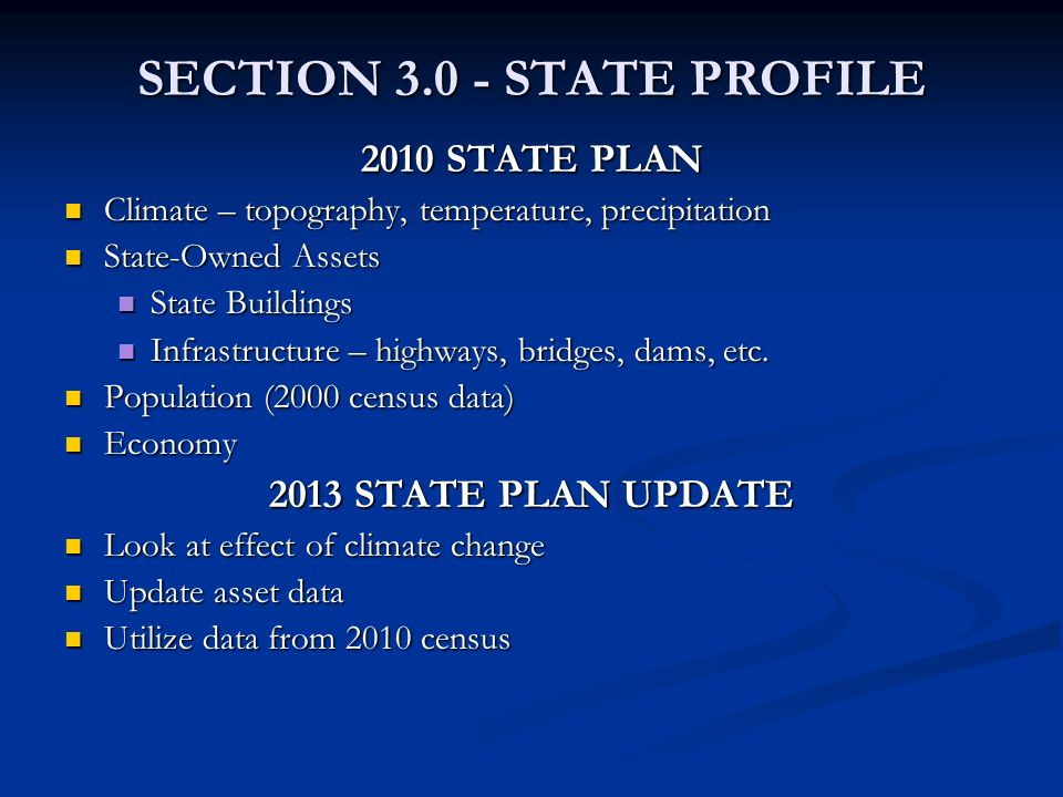 SECTION 3.0 - STATE PROFILE