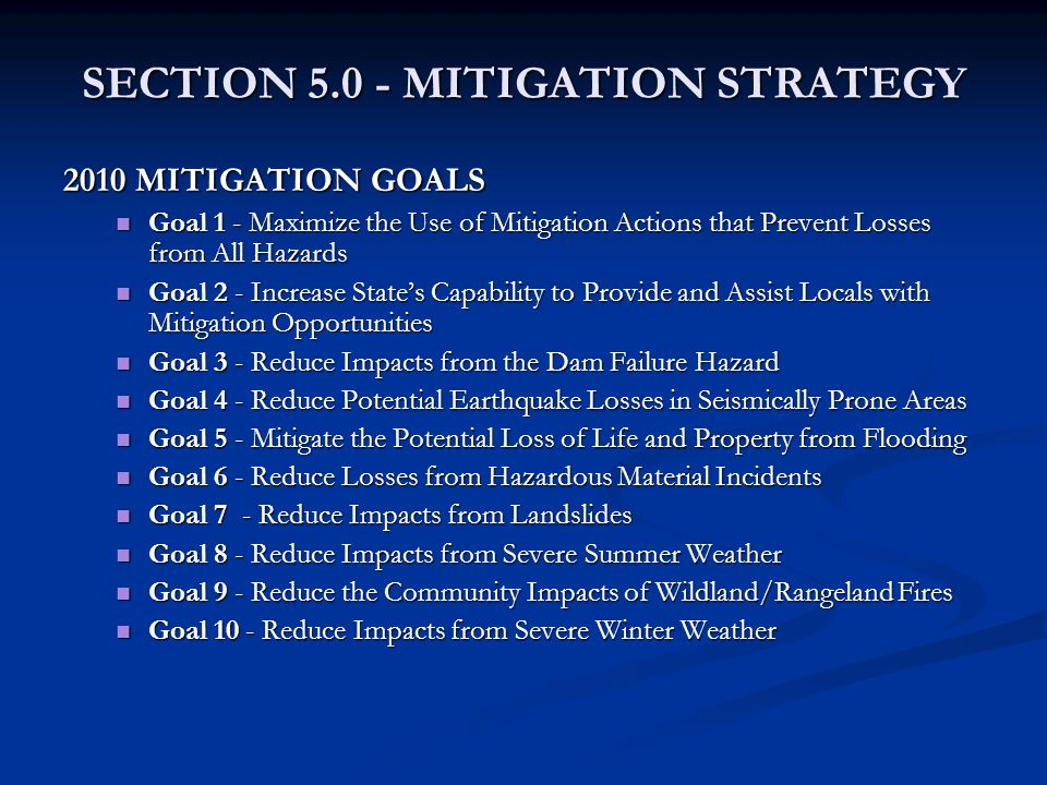 SECTION 5.0 - MITIGATION STRATEGY