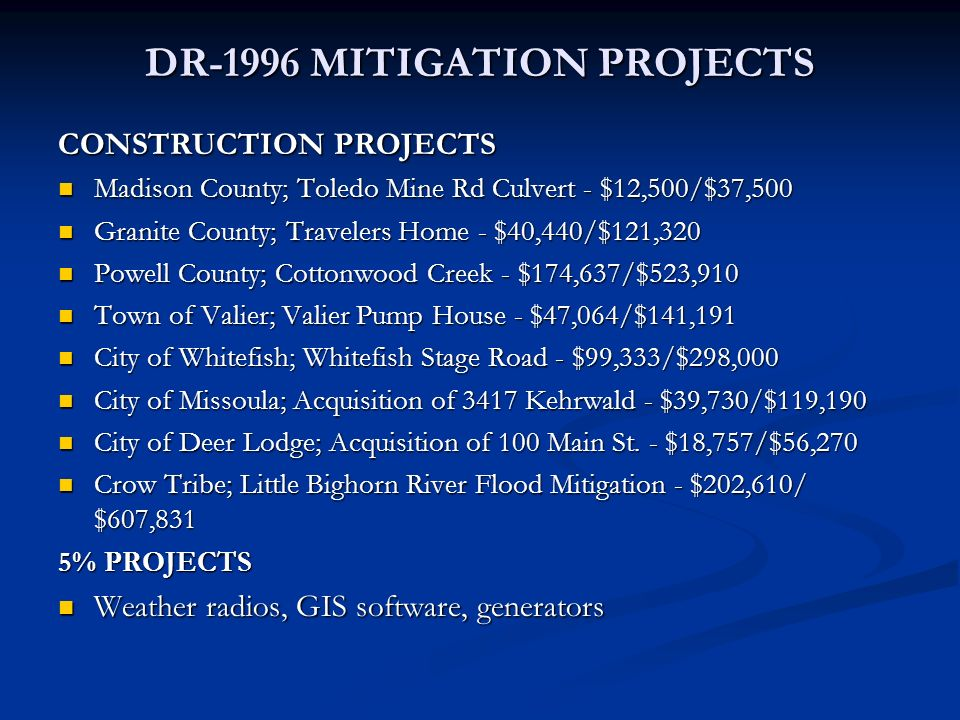 DR-1996 MITIGATION PROJECTS