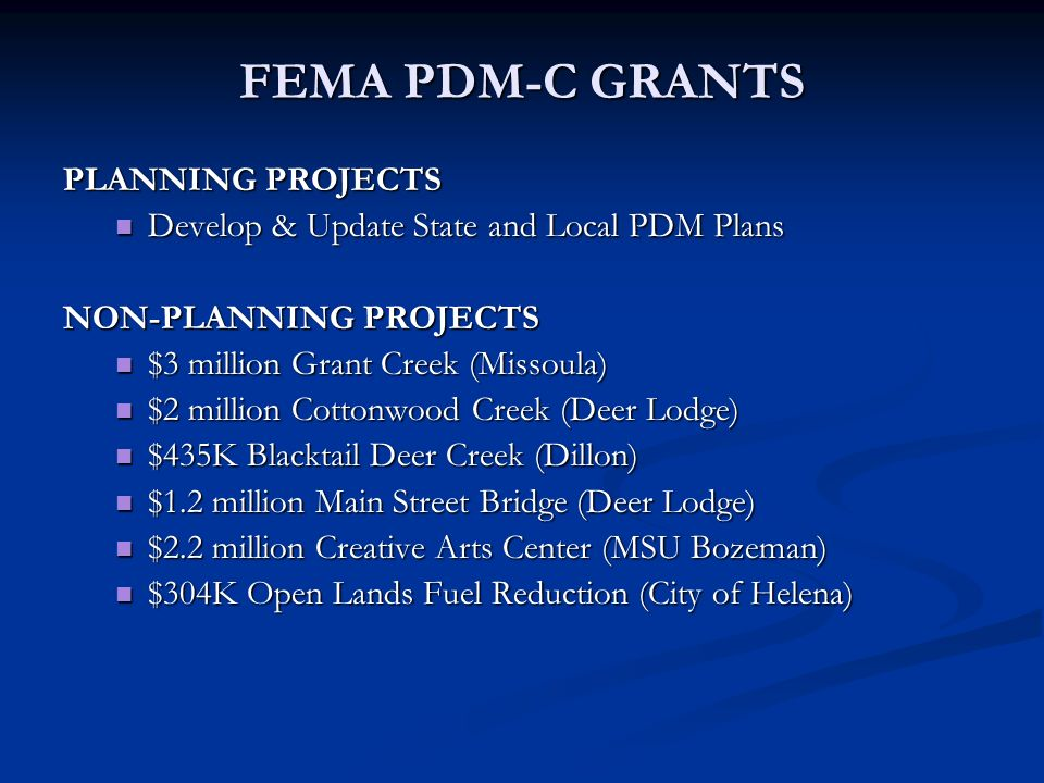 FEMA PDM-C GRANTS PLANNING PROJECTS