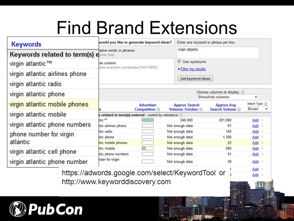 Find Brand Extensions https://adwords.google.com/select/KeywordTool or