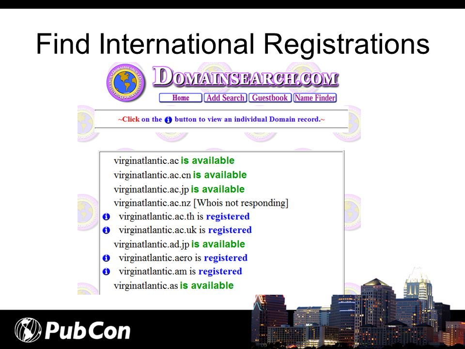 Find International Registrations
