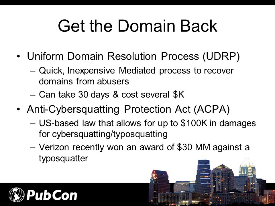 Get the Domain Back Uniform Domain Resolution Process (UDRP)