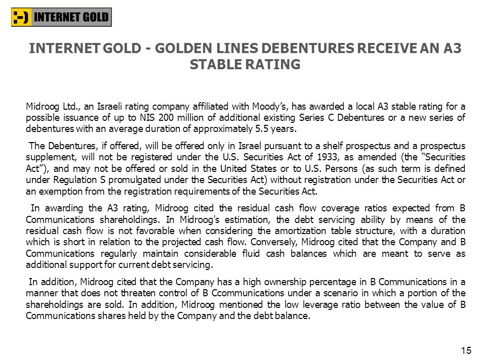 INTERNET GOLD - GOLDEN LINES DEBENTURES RECEIVE AN A3 STABLE RATING