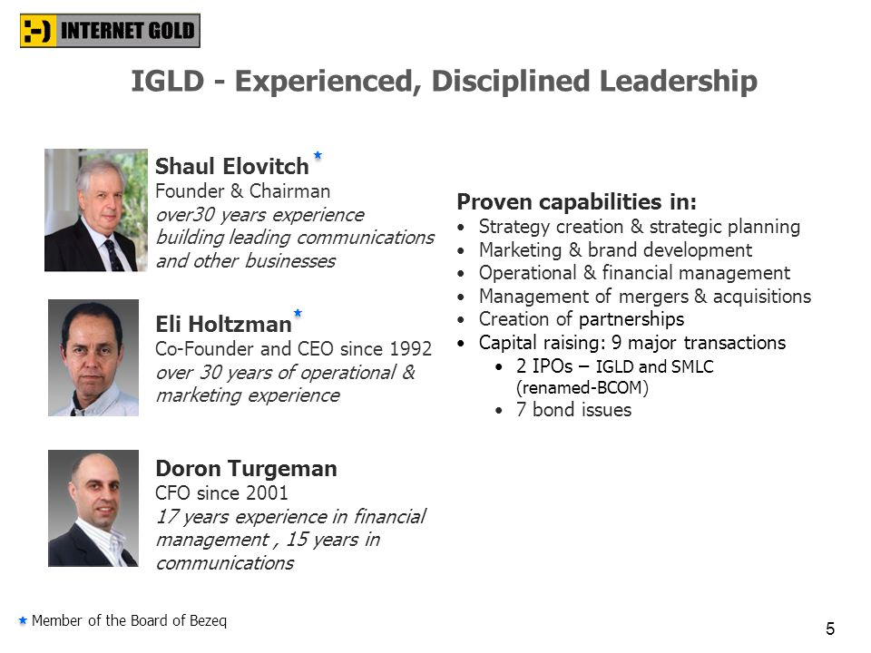 IGLD - Experienced, Disciplined Leadership