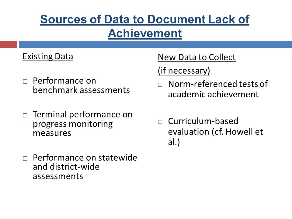 Sources of Data to Document Lack of Achievement