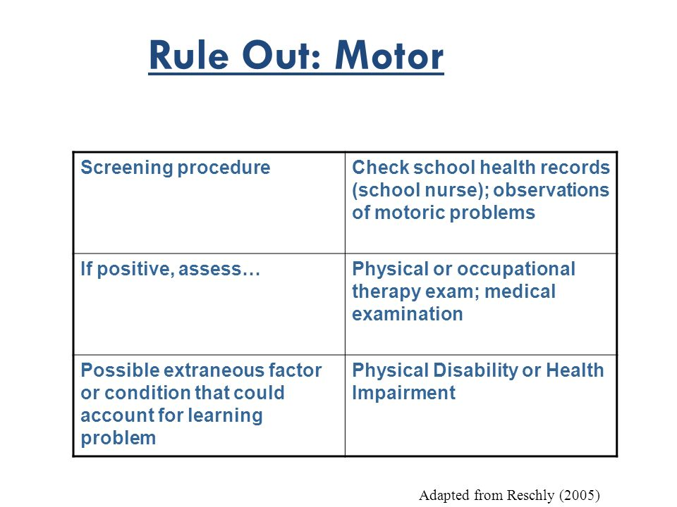 Rule Out: Motor Screening procedure