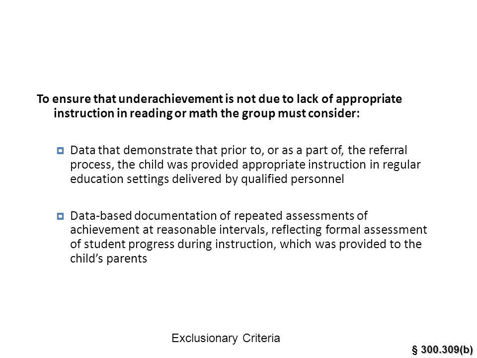 Exclusionary Criteria