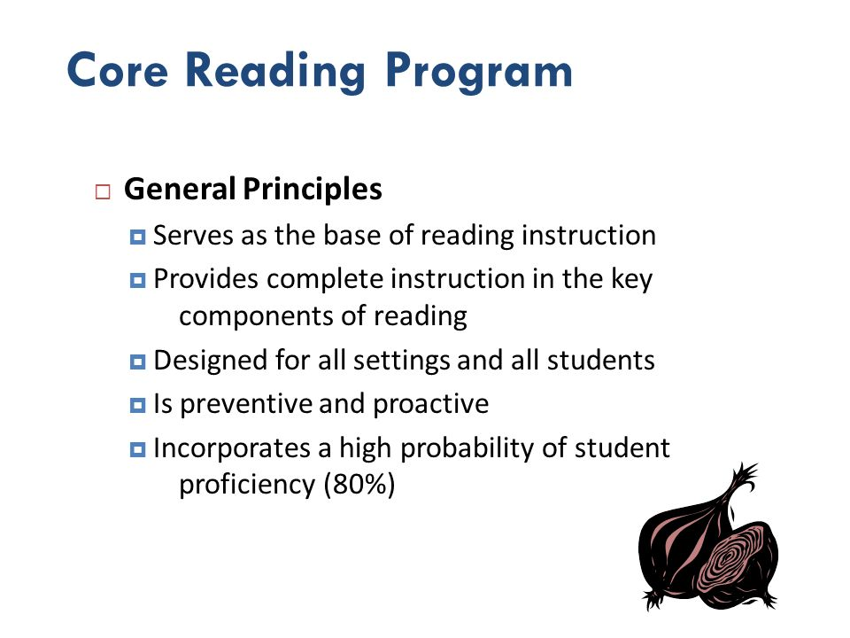 Core Reading Program General Principles