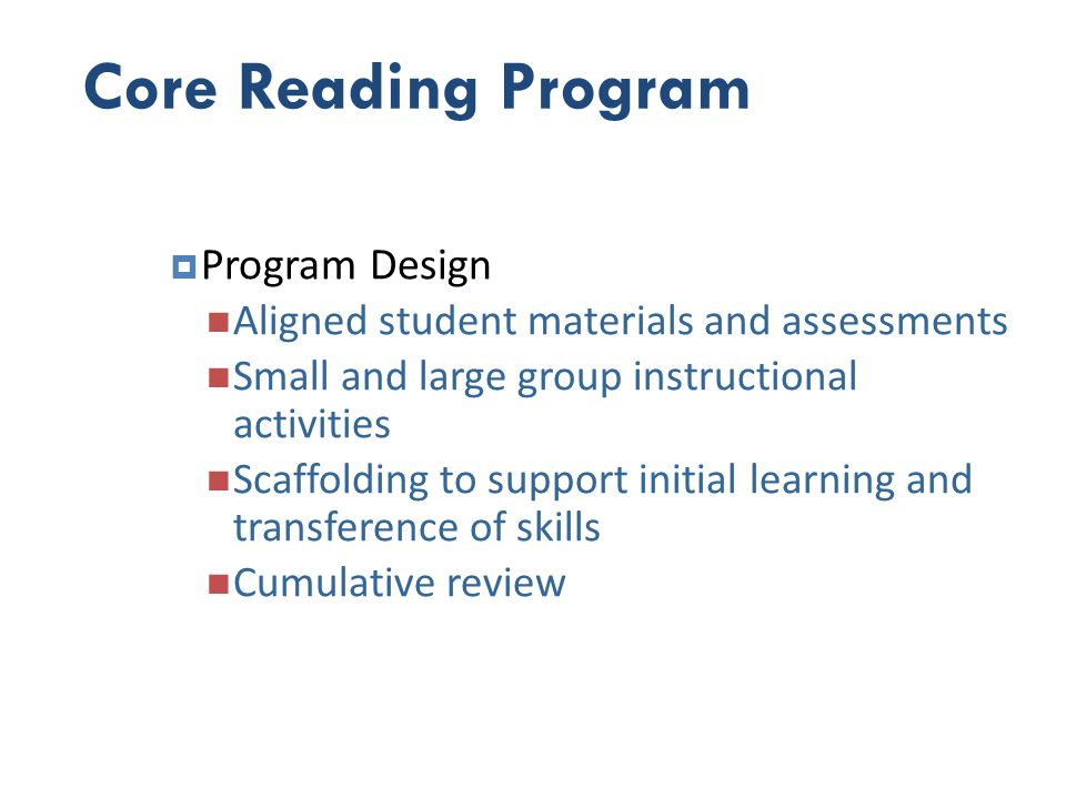 Core Reading Program Program Design