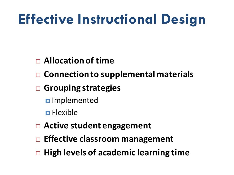 Effective Instructional Design