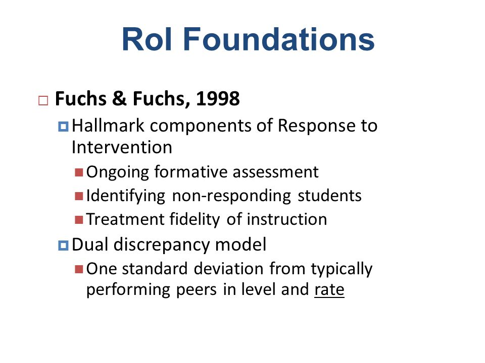 RoI Foundations Fuchs & Fuchs, 1998