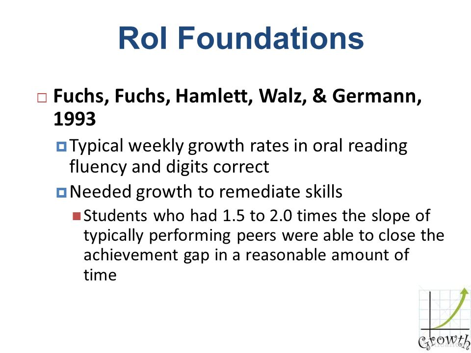 RoI Foundations Fuchs, Fuchs, Hamlett, Walz, & Germann, 1993