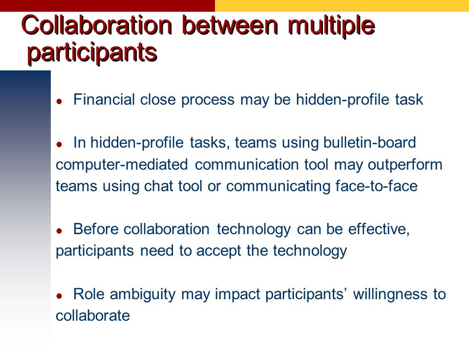 Collaboration between multiple participants