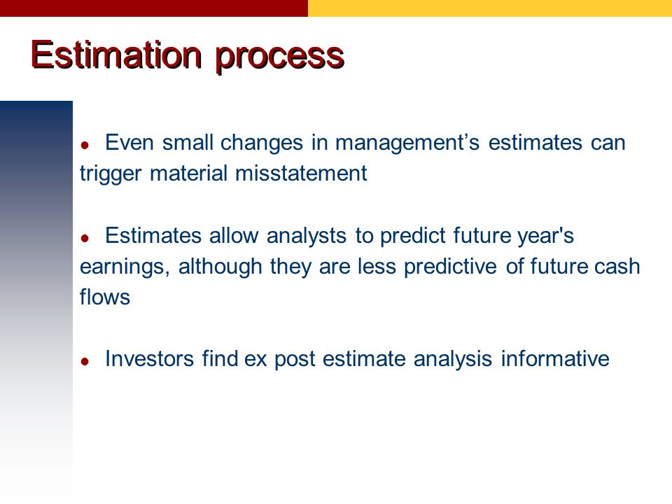 Estimation process Even small changes in management's estimates can trigger material misstatement.