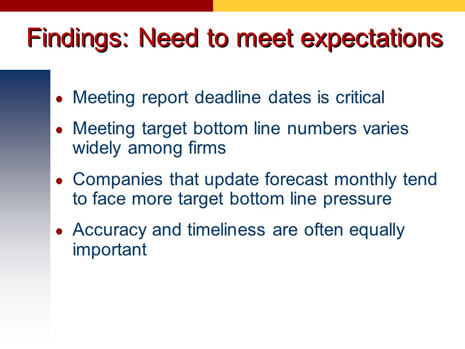 Findings: Need to meet expectations