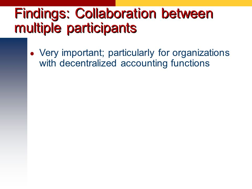 Findings: Collaboration between multiple participants