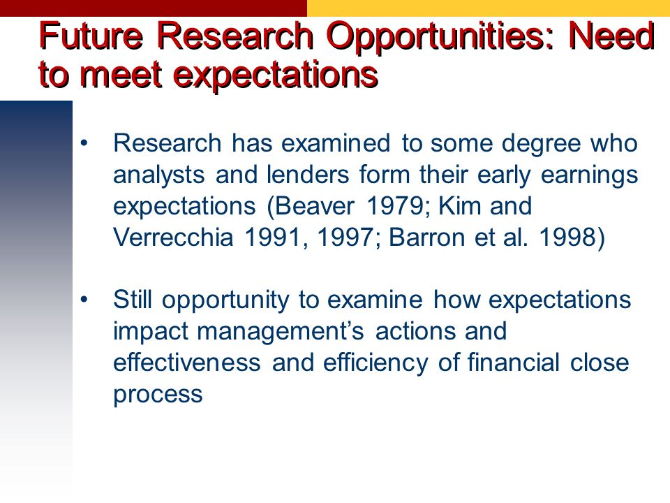Future Research Opportunities: Need to meet expectations