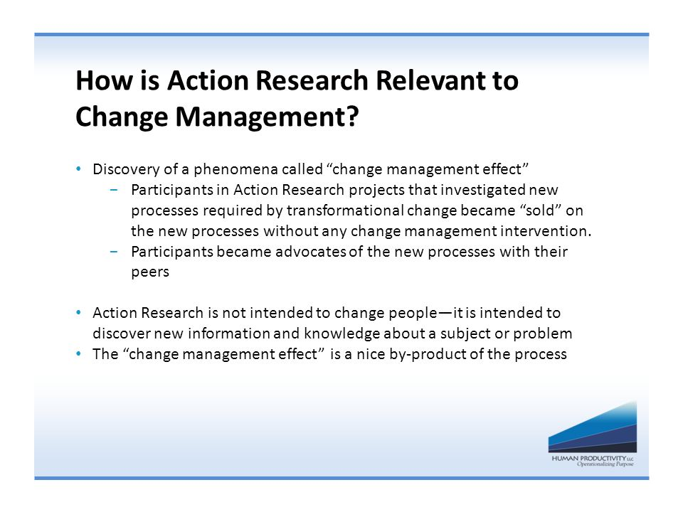 How is Action Research Relevant to Change Management