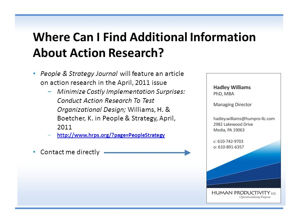 Where Can I Find Additional Information About Action Research