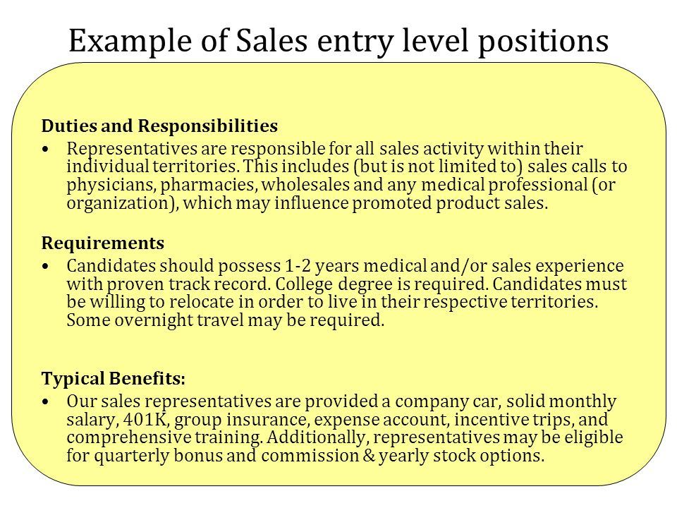 Example of Sales entry level positions