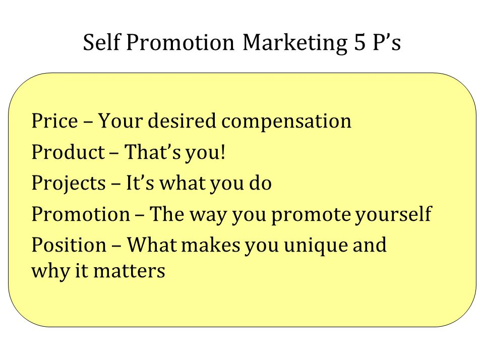 Self Promotion Marketing 5 P's