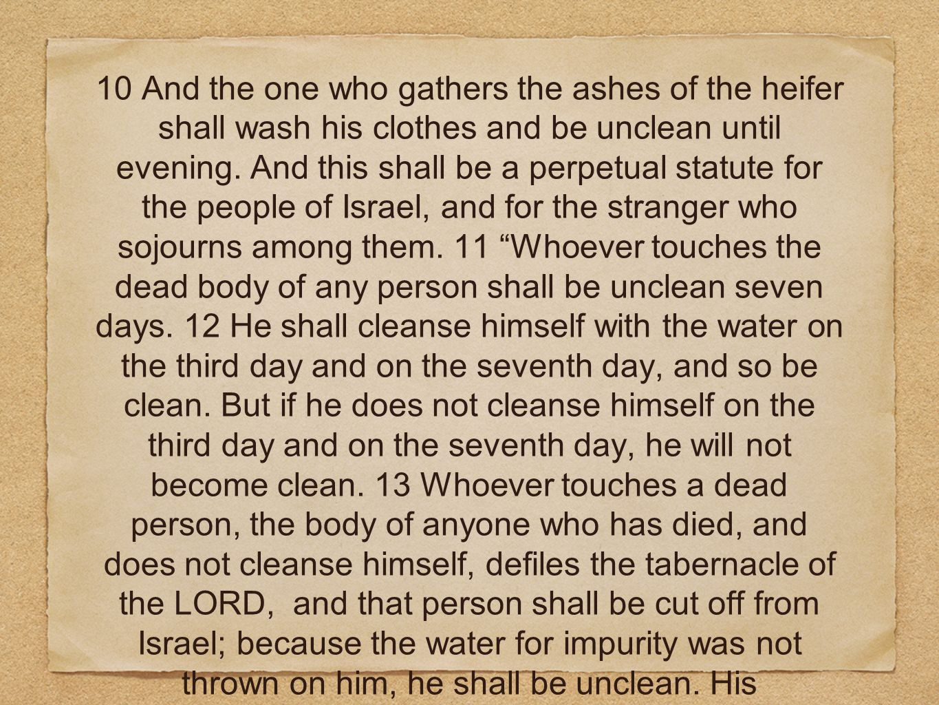 10 And the one who gathers the ashes of the heifer shall wash his clothes and be unclean until evening.