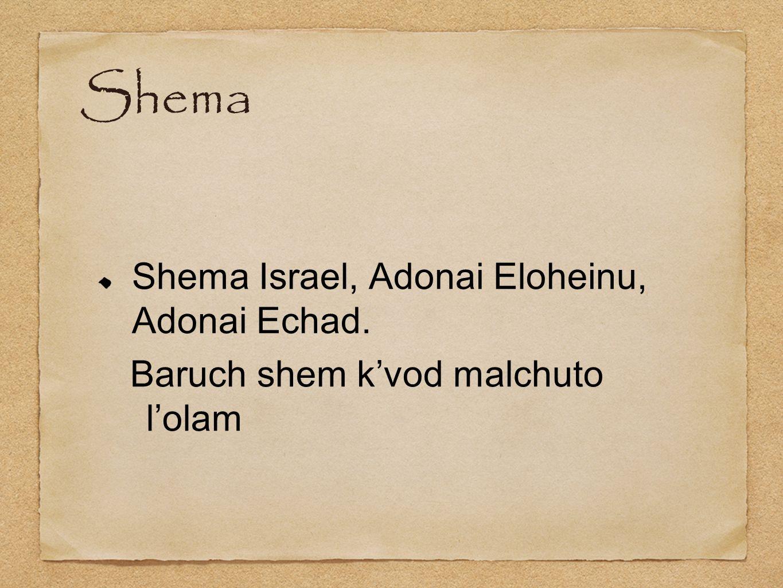 Shema Shema Israel, Adonai Eloheinu, Adonai Echad.