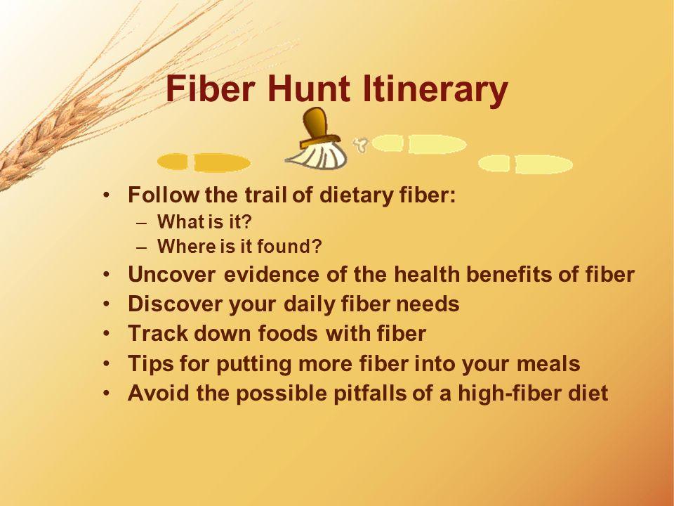Fiber Hunt Itinerary Follow the trail of dietary fiber: