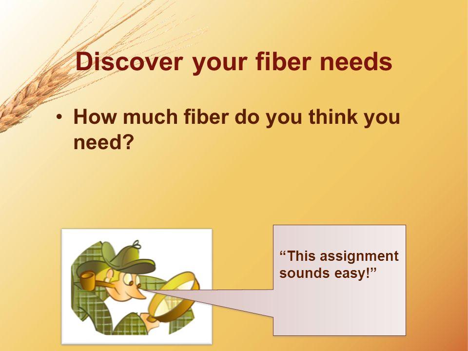 Discover your fiber needs