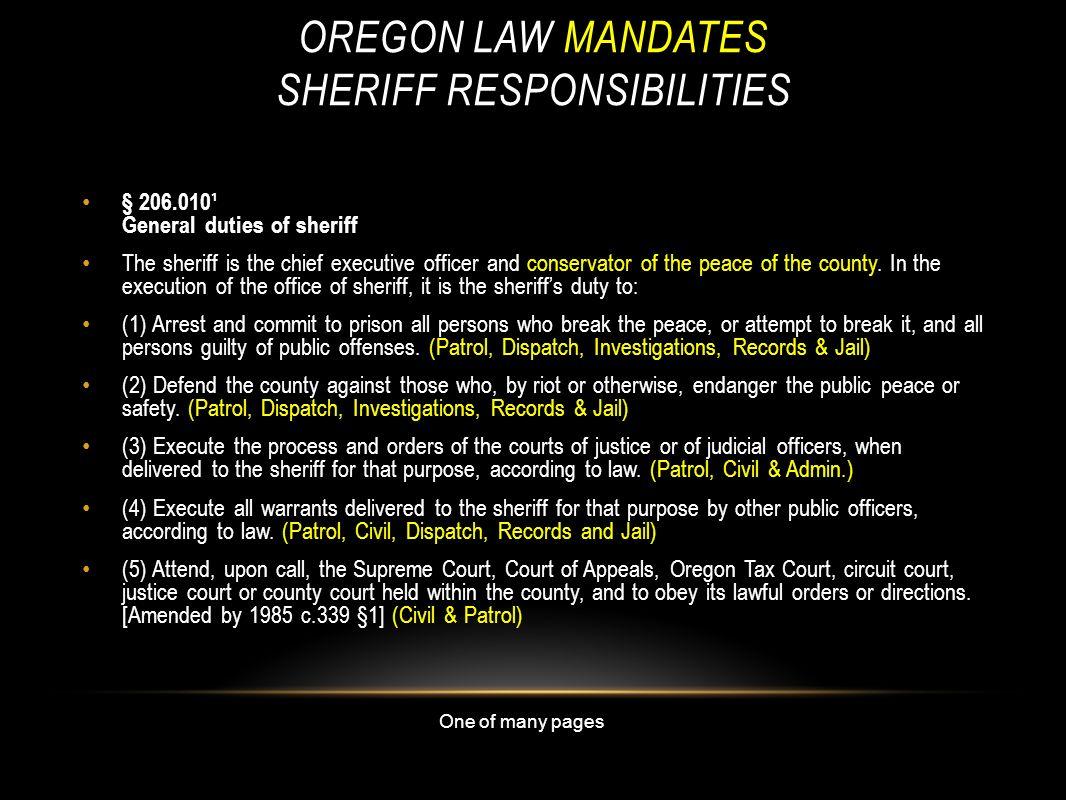 Oregon law Mandates Sheriff Responsibilities