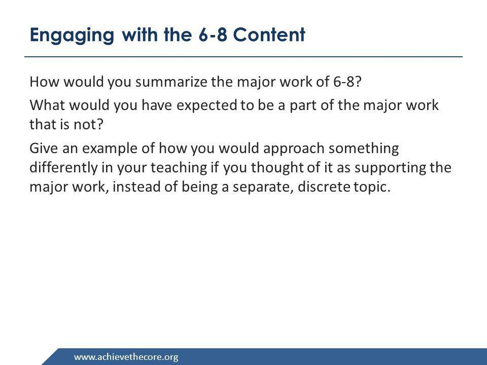 Engaging with the 6-8 Content