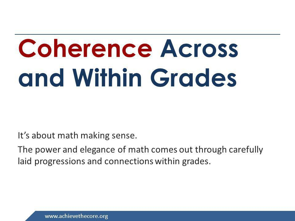 Coherence Across and Within Grades