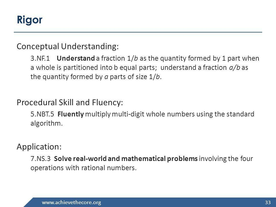 Rigor Conceptual Understanding: Procedural Skill and Fluency: