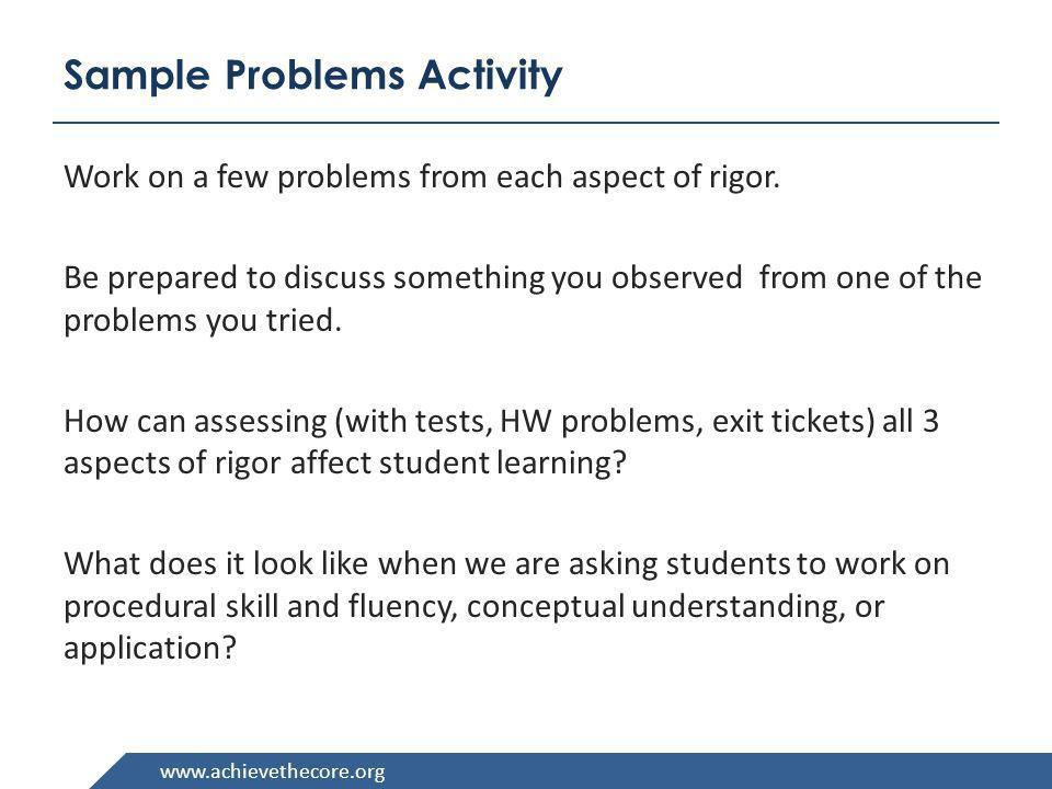Sample Problems Activity